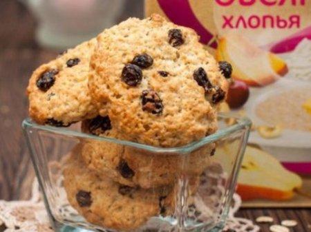 Йогуртовое печенье с изюмом на скорую руку