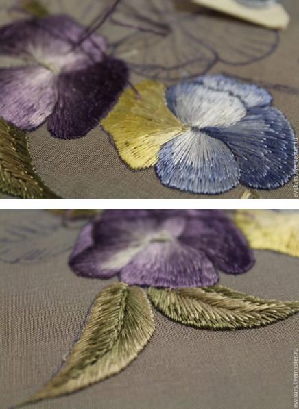 Нежный цветок -Виола-: мастер-класс по вышивке односторонней гладью…