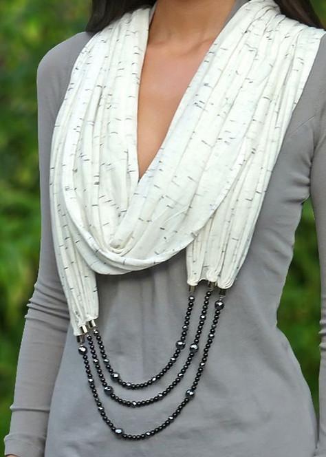 Шарфы с бижутерией для самых очаровательных и элегантных женщин&8230;
