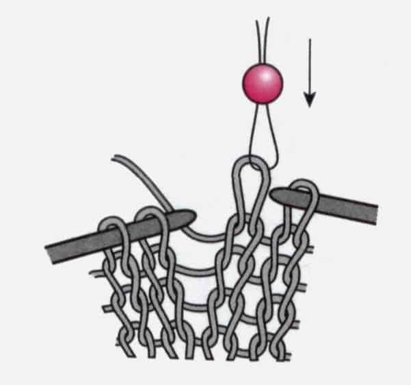 Интересный способ вязания с бусинами без предварительного нанизывания на нить