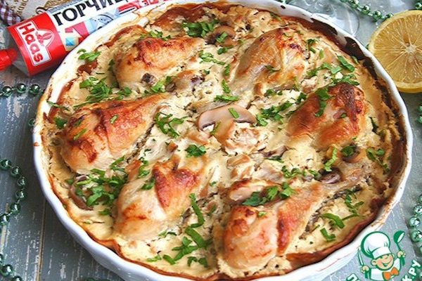 Куриные голени в сметанно-горчичном соусе