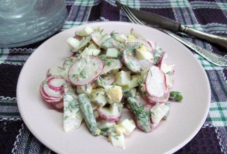 Салат с редисом и фасолью
