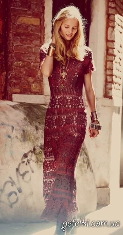 Нарядное длинное платье крючком. Описание и схемы вязания ( 10 фото )