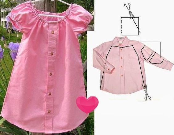 Хотите сшить симпатичные наряды из ненужных рубашек - смотрите идеи