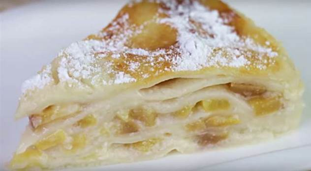 Пирог из лаваша с персиками ( 2 фото )