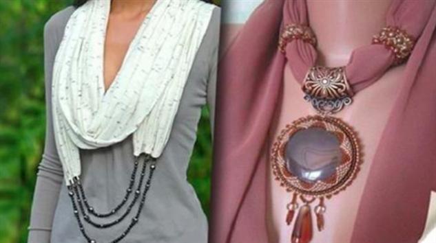 Двадцать восхитительных образов шарфов с бижутерией
