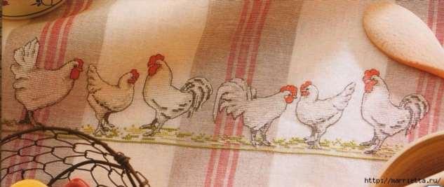 Курочки на скатерти и салфетке. Схемы вышивки крестом