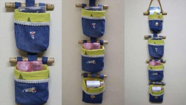 Режем джинсы и сшиваем с тканью. Полезная вещица для дома