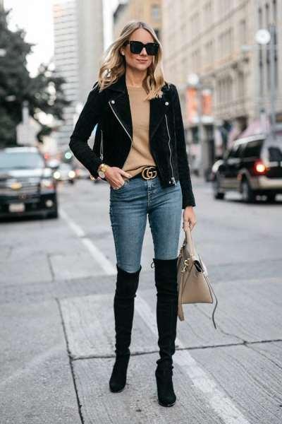 Чёрные ботфорты для стильной зимы
