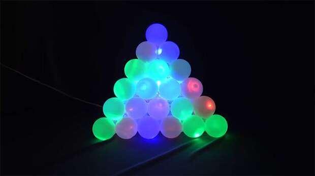 Очень необычная идея декора из шариков для пинг-понга